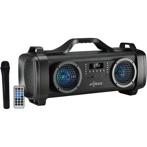 "Axess 2- 4"" Bluetooth Speaker - 300 Watts LED Lights 1 Wireless MicUSBAux InFM Radio"