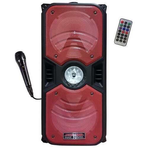 """Max Power Rechargeable Dual 6.5"""" Bluetooth Speaker - Red Grill"""