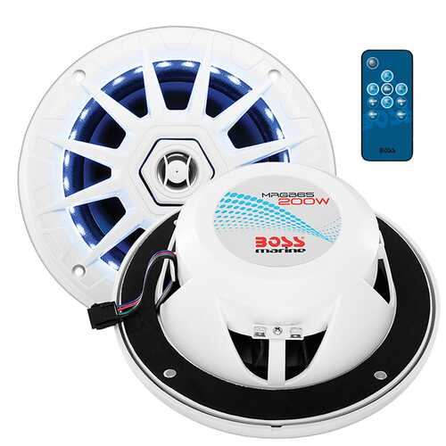 "Boss Audio Marine white 6.5"" 2 way speaker (PAIR) multi color illumination wireless remote"