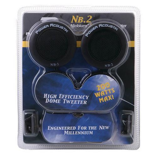 """POWER ACOUSTIK 1"""" TWEETERS (Sold in pairs) NIOBIUM 200WATTS; 3-WAY MOUNTING"""