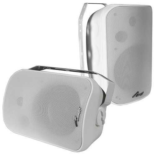 """Audiopipe 6.5"""" Indoor/Outdoor Weatherproof Speakers -White-Pair"""