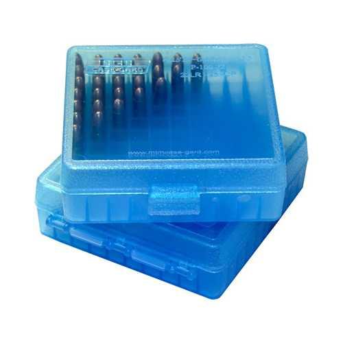 MTM Ammo Box 100 Round Flip Top For .22 LR 25 ACP Clear Blue