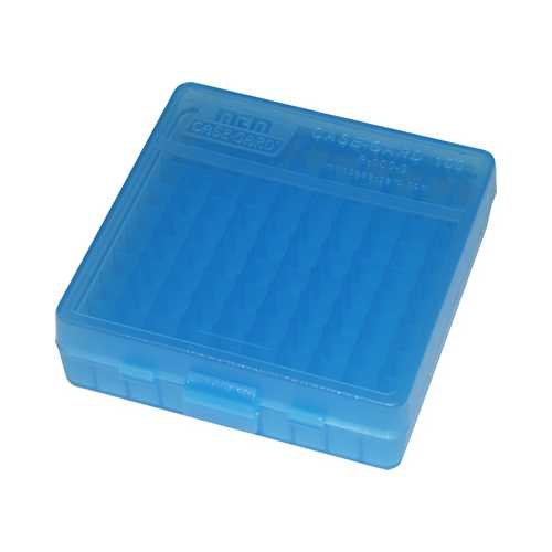 MTM Ammo Box 100 Round Flip-Top 40 10mm 45 ACP Clear Blue