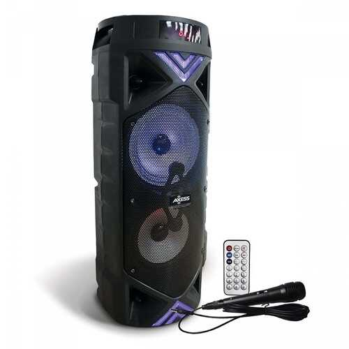 """Axess Dual 6.5"""" Bluetooth Portable Party Speaker with LED Lights Remote & Wired Mic"""