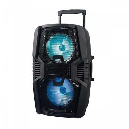 """Axess Dual 8"""" Bluetooth Portable Party Speaker with LED Lights Remote & Wired Mic"""