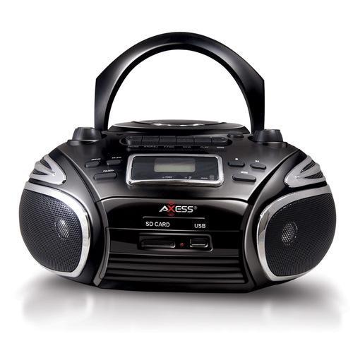 Axess Portable Boombox AM/FM Radio CD/MP3 Player USB SD Cassette Recorder Headphone Jack Black
