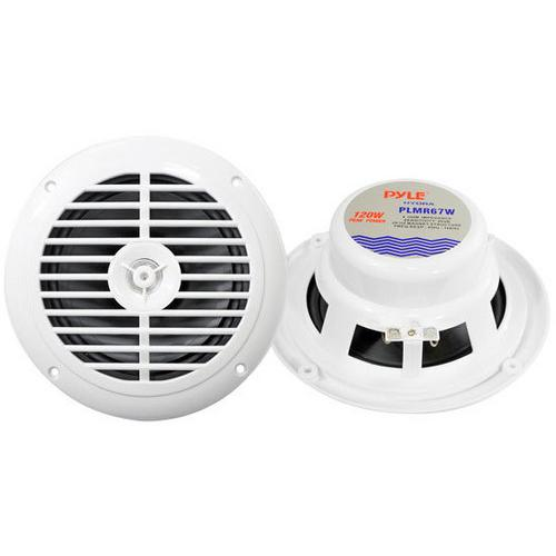 "Pyle 6.5"" Hydra Marine Speakers White 120W Max"