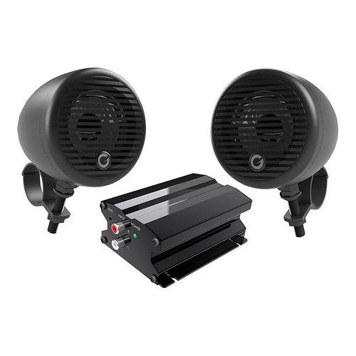"""Planet Motorcycle/ATV Sound System with Bluetooth 1 pair of 3"""" Matte Black Speakers Amp"""