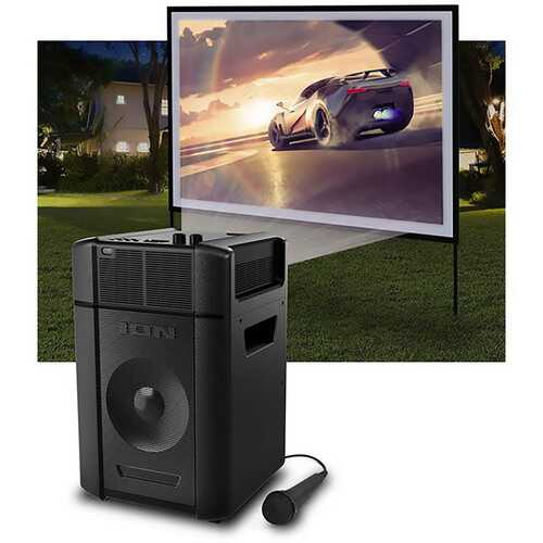 "Ion Projector Plus Bluetooth 30-150"" Battery Indoor-Outdoor-Karaoke-Speaker"