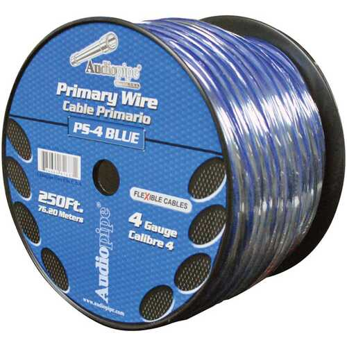 Audiopipe 4 Ga. Flexible Power Cable 250 ft.  Blue