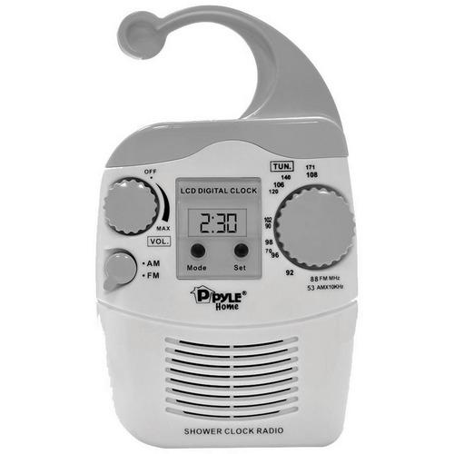 Pyle Hanging Waterproof AM/FM Shower Clock Radio