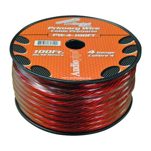 POWER WIRE AUDIOPIPE 4GA 100' RED