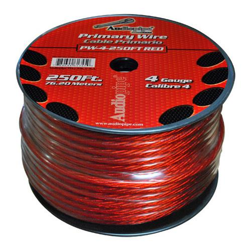 POWER WIRE AUDIOPIPE 4GA 250' RED