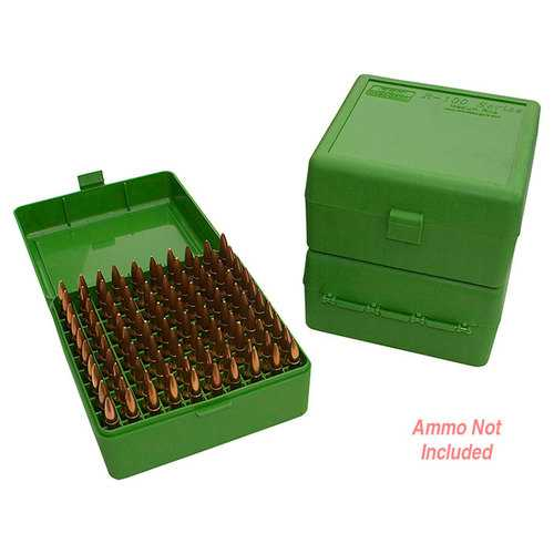 MTM Ammo Box 100 Round Flip-Top 22-250 243 308 Win 220 Swift Green