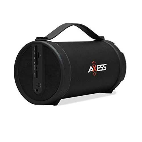 Axess Black Portable Bluetooth IndoorOutdoor 2.1 HiFi Cylinder Loud Speaker with BuiltIn 4 Inch Sub