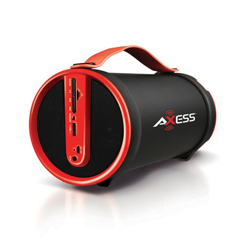 Axess Red Portable Bluetooth IndoorOutdoor 2.1 HiFi Cylinder Loud Speaker with BuiltIn 4 Inch Sub