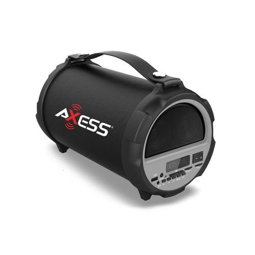 Axess Bluetooth Hi-Fi Cylinder Loud Speaker 4 Inch Sub Vibrating Disk SD Card USB AUX Inputs Gray