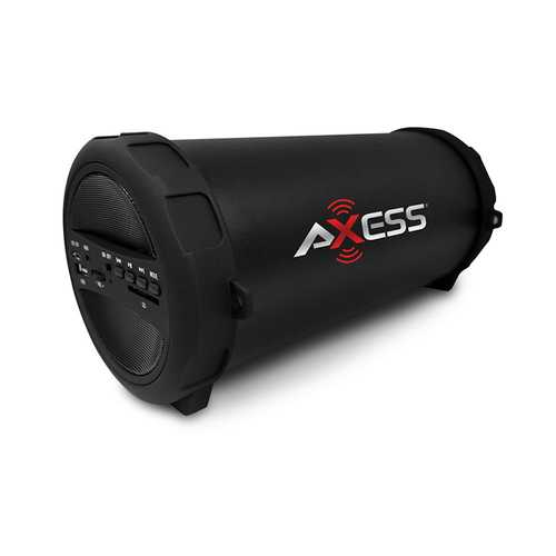 Axess Portable Thunder Sonic Bluetooth Cylinder Loud Speaker BuiltIn FM Radio SD Card USB AUX Black