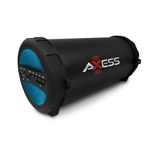 Axess Portable Thunder Sonic Bluetooth Cylinder Loud Speaker BuiltIn FM Radio SD Card USB AUX Blue