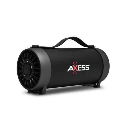 AXESS Indoor Outdoor Bluetooth Speaker FM Radio Recharge Batt 3 Inch Subwoofer Black