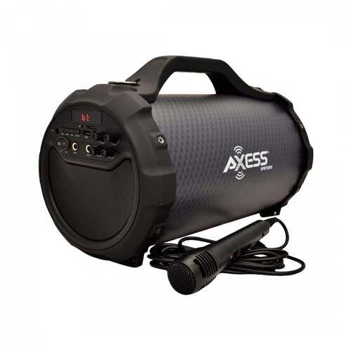 """Axess 6"""" Bluetooth Portable Speaker with Mic/SD/USB Inputs - Black"""