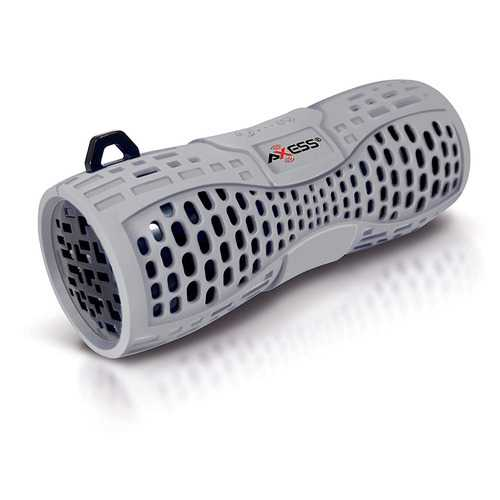 AXESS Portable Water Resistant Bluetooth Speaker Sys Spkrphone Answer CallsGray