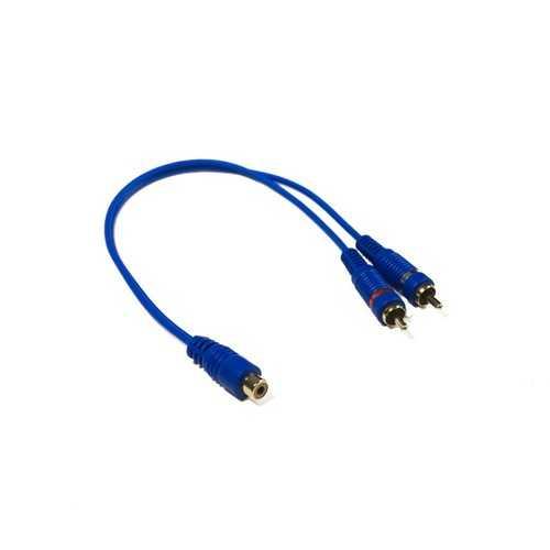 "STINGER RCA Y 2M-1F BLUE INTERCONNECTS (6"")"