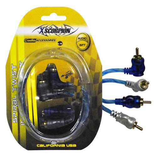 RCA CABLE 6' RIGHT ANGLE BLUE/PLATINUM TWISTED