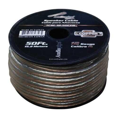 Audiopipe 12 Gauge 100% Copper Series Speaker Wire - 50 Foot Roll - Clear PVC Jacket