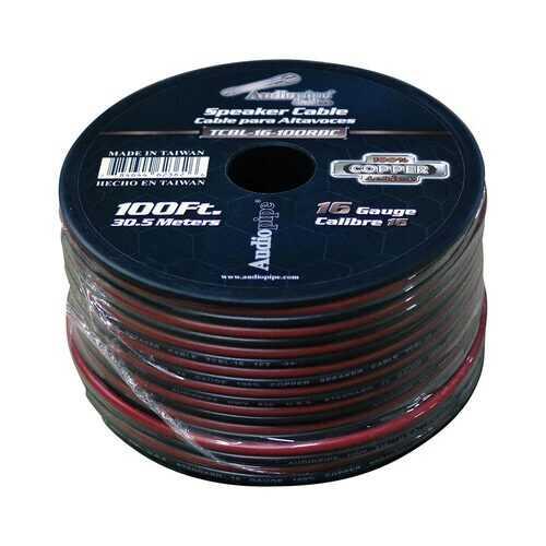 Audiopipe 16 Gauge 100% Copper Series Speaker Wire - 100 Foot Roll - RED/BLACK  Jacket