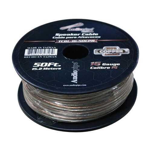Audiopipe 16 Gauge 100% Copper Series Speaker Wire - 50 Foot Roll - Clear PVC Jacket