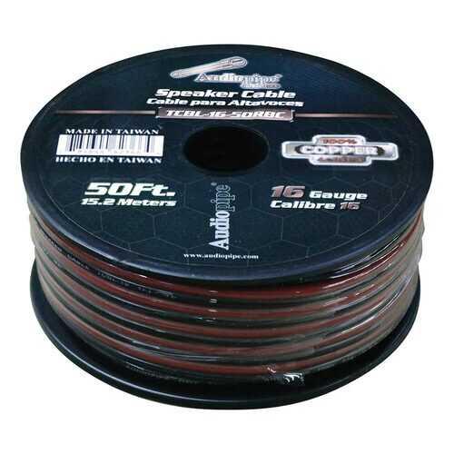 Audiopipe 16 Gauge 100% Copper Series Speaker Wire - 50 Foot Roll - RED/BLACK  Jacket