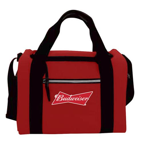 Chaby Budweiser 24 Can Cooler Bag with Side Mesh Pockets Zippered Front Compartment (Red)