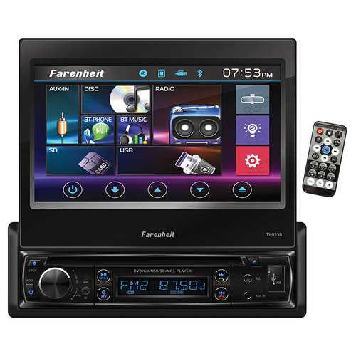 "Farenheit Single Din 7"" Flip out Touchscreen with DVD & BT"