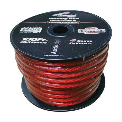 Audiopipe 4 Gauge 100% Copper Series Power Wire - 100 Foot Roll - Red PVC outer-jacket