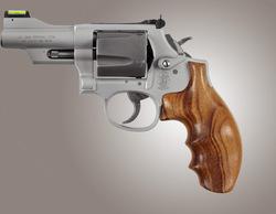 Hogue S&W K L Frame Round Butt Revolver Grip Finger Groove Goncalo Alves Wood