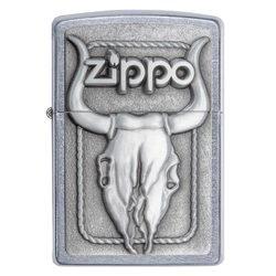 Zippo Windproof Lighter Bull Skull Western Emblem Street Chrome