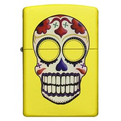 Zippo Windproof Lighter  Day of the Dead Neon Yellow Finish
