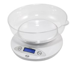 American Weigh Scales 5KBOWL 5KG Digital Kitchen Scale with Removable Bowl White