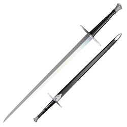"Cold Steel Hand-And-A-Half 33-1/2"" Sword with Leather/Wood Scabbard"