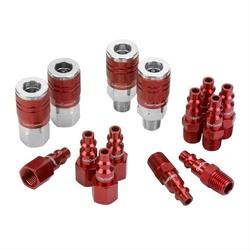 ColorConnex Coupler  Plug Kit Type D 1/4in NPT 1/4in Body Red 14 Pc