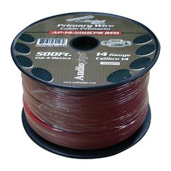 Audiopipe 14 Gauge 100% Copper Series Primary Wire - 500 Foot Roll - RED  Jacket