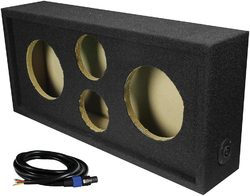 """Qpower Full Range Empty Box Holds 2 - 6.5"""" & 2 - Super Tweeter w/ Speakon connection with cable"""