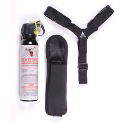 Category: Dropship Tactical Gear, SKU #FBAD08, Title: Frontiersman Bear Spray 9.2 oz with Chest Holster