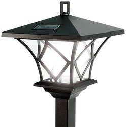 IdeaWorks 60 Inch Two Looks In One Vintage Outdoor Solar LED Lamp Post Black