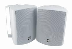 Dual  5-1/4 inch 3-Way In-Outdoor & Bookshelf Studio Monitor Speakers White