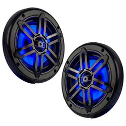 "Power Acoustik Marine 6.5"" 2-Way Speakers with Blue LED White & Black Grills"
