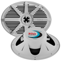 "Boss 6x9"" 2-Way Coaxial Marine Speaker 350W White"