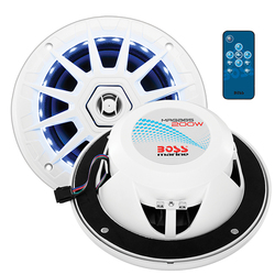 "Boss Audio Marine white 6.5"" 2 way speaker (PAIR) multi color illumination wireless remote"