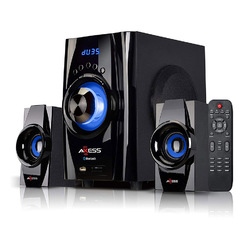 AXESS Bluetooth Mini System 2.1 Channel Home Theater Speaker Sys Blue